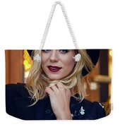 Portrait Of A Girl In Black Clothes And A Hat On The Street In The Evening Weekender Tote Bag