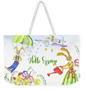 Rabbits And Flowers Weekender Tote Bag
