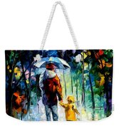 Rainy Walk With Daddy Weekender Tote Bag