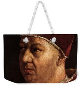 Raphael Pope Leo X With Cardinals Giulio De  Medici And Luigi De  Rossi  Weekender Tote Bag