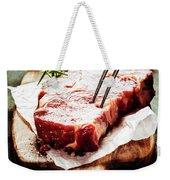 Raw Beef Steak And Wine Weekender Tote Bag