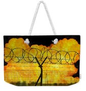 Realistic Orange Fire Explosion Behind Restricted Area Barbed Wire Fence Weekender Tote Bag