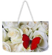 Red Butterfly On White Roses Weekender Tote Bag