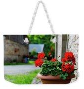 Red Garden Geranium Flowers In Pot , Close Up Shot / Geranium Fl Weekender Tote Bag