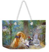 Red-haired Girl Sitting On A Veranda Weekender Tote Bag