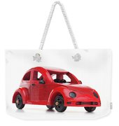 Red Retro Wooden Toy Car Isolated On White Background Weekender Tote Bag