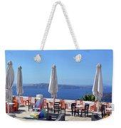 Restaurant By The Aegean Sea  In Santorini, Greece  Weekender Tote Bag