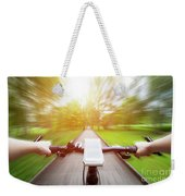Riding A Bike First Person Perspective. Smartphone On Handlebar. Speed Motion Blur Weekender Tote Bag