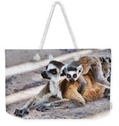 Ring Tailed Lemur With Baby Weekender Tote Bag