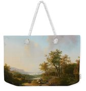 River Landscape With Views Of A Castle And Town Weekender Tote Bag