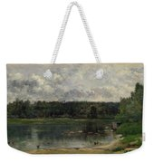 River Scene With Ducks Weekender Tote Bag