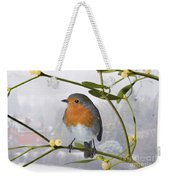 Robin On Mistletoe Weekender Tote Bag
