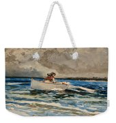 Rowing At Prouts Neck Weekender Tote Bag by Winslow Homer