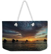 Sailing Boats At Sunset Boracay Tropical Island Philippines Weekender Tote Bag