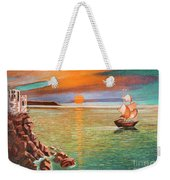 Sailing Ship And Castle Weekender Tote Bag