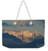 Scenic View Of The Dolomites Mountains With A Cloudy Sky  Weekender Tote Bag