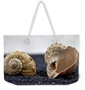Seashells On Black Sand Weekender Tote Bag
