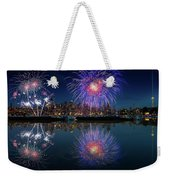 Seattle Skyline And Fireworks Weekender Tote Bag