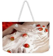 Sexy Nude Woman Body Covered With Cream And Strawberries Weekender Tote Bag