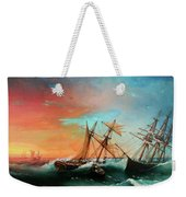 Ships In A Storm At Sunset Weekender Tote Bag