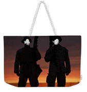 Silhouette Of U.s Marines On A Bunker Weekender Tote Bag