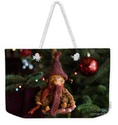 Silly Old Monkey Toy In A Child Hands Under The Christmas Tree Weekender Tote Bag