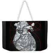Silver Human Heart On Black Canvas Weekender Tote Bag by Serge Averbukh