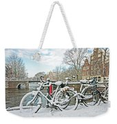 snowy Amsterdam in the Netherlands Weekender Tote Bag