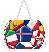 Soccer Ball With Flag Of Iceland In The Center Weekender Tote Bag