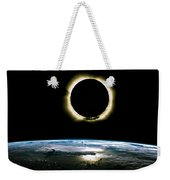 Solar Eclipse From Above The Earth - Infrared View Weekender Tote Bag