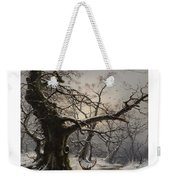 Stag In A Snow Covered Wooded Landscape Weekender Tote Bag