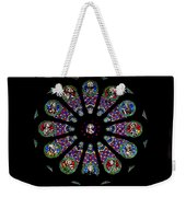 Stained Glass Rose Window In Lisbon Cathedral Weekender Tote Bag