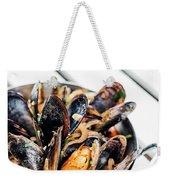 Stewed Fresh Mussels In Spicy Garlic Wine Seafood Sauce Weekender Tote Bag