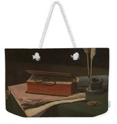 Still Life With Book Papers And Inkwell Weekender Tote Bag