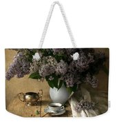 Still Life With Bouquet Of Fresh Lilacs Weekender Tote Bag