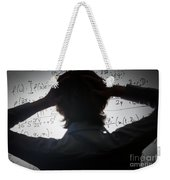 Student Holding His Head Looking At Complex Math Formulas On Whiteboard Weekender Tote Bag