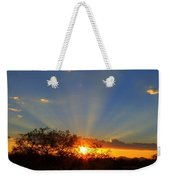 Sun Rays At Sunset With Tree And Saguaro Weekender Tote Bag