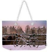 Sunset In Snowy Amsterdam In The Netherlands In Winter Weekender Tote Bag