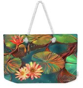 Teal Waterlilies 8 Weekender Tote Bag
