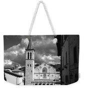 The Facade Of The Duomo With Mosaic And Eight Rose Windows And The Campanile Spoleto Umbria Italy Weekender Tote Bag