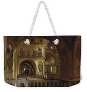 The Interior Of St Marks Basilica Venice Frederick Leighton Weekender Tote Bag