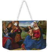 The Virgin And Child Adored By Two Angels Weekender Tote Bag