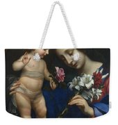 The Virgin And Child With Flowers Weekender Tote Bag