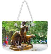 Three Bronze Sculpture Statue Of Bears Great Attraction At New York Ny Central Park By Navinjoshi Weekender Tote Bag
