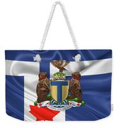 Toronto - Coat Of Arms Over City Of Toronto Flag  Weekender Tote Bag