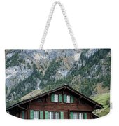 Traditional Swiss Alps Houses In Vals Village Alpine Switzerland Weekender Tote Bag