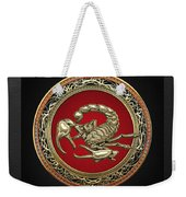 Treasure Trove - Sacred Golden Scorpion On Black Weekender Tote Bag