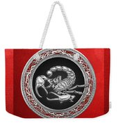 Treasure Trove - Sacred Silver Scorpion On Red Weekender Tote Bag