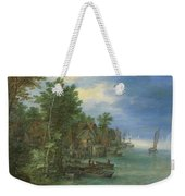 View Of A Village Along A River Weekender Tote Bag
