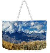 View Of Snow Peaks Leh Ladakh  Jammu And Kashmir India Weekender Tote Bag